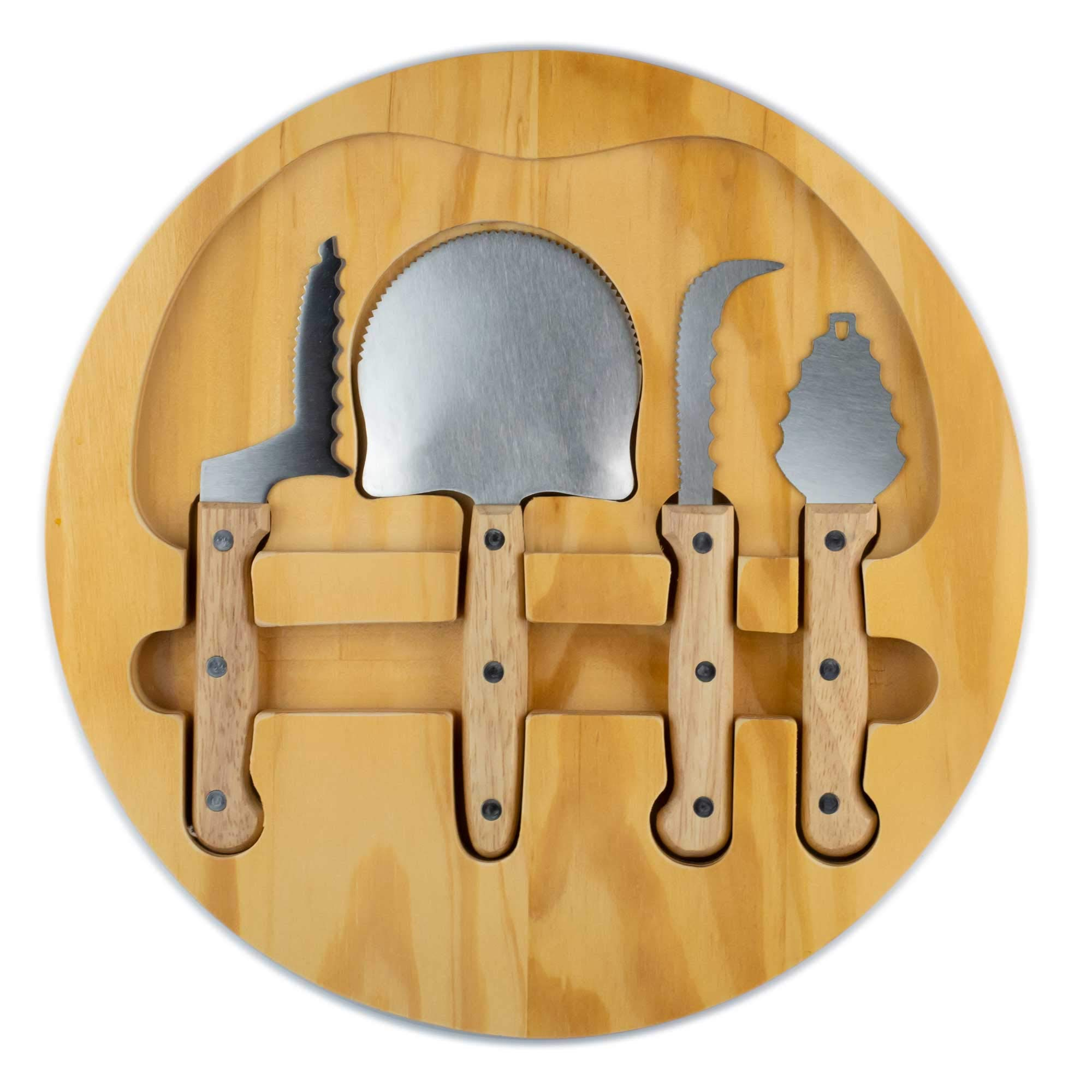NEW 4 Piece Pumpkin Carving Kit with Wooden Case: (Plus Pumpkin Carving Stencil E-Book) Sturdy Stainless Steel and Wood Handled Carving Tools | Crafted for Safety and Efficiency for Halloween Memories by Creative Carving