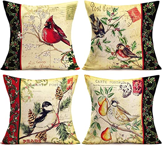 Christmas sparrow Cotton Linen Cushion Cover Throw Pillow Case Sofa Home Decor