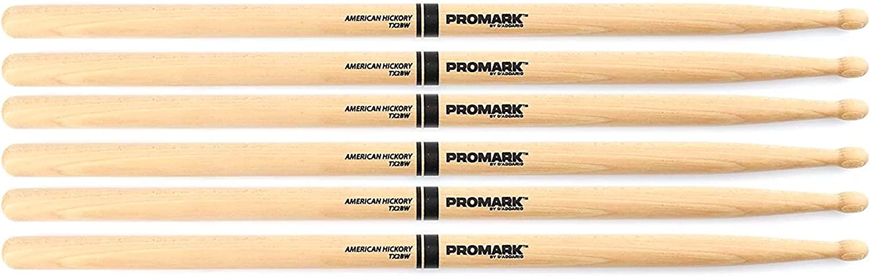 3 Pair Bundle Promark American Hickory 2B Wood Tip Drum Stick