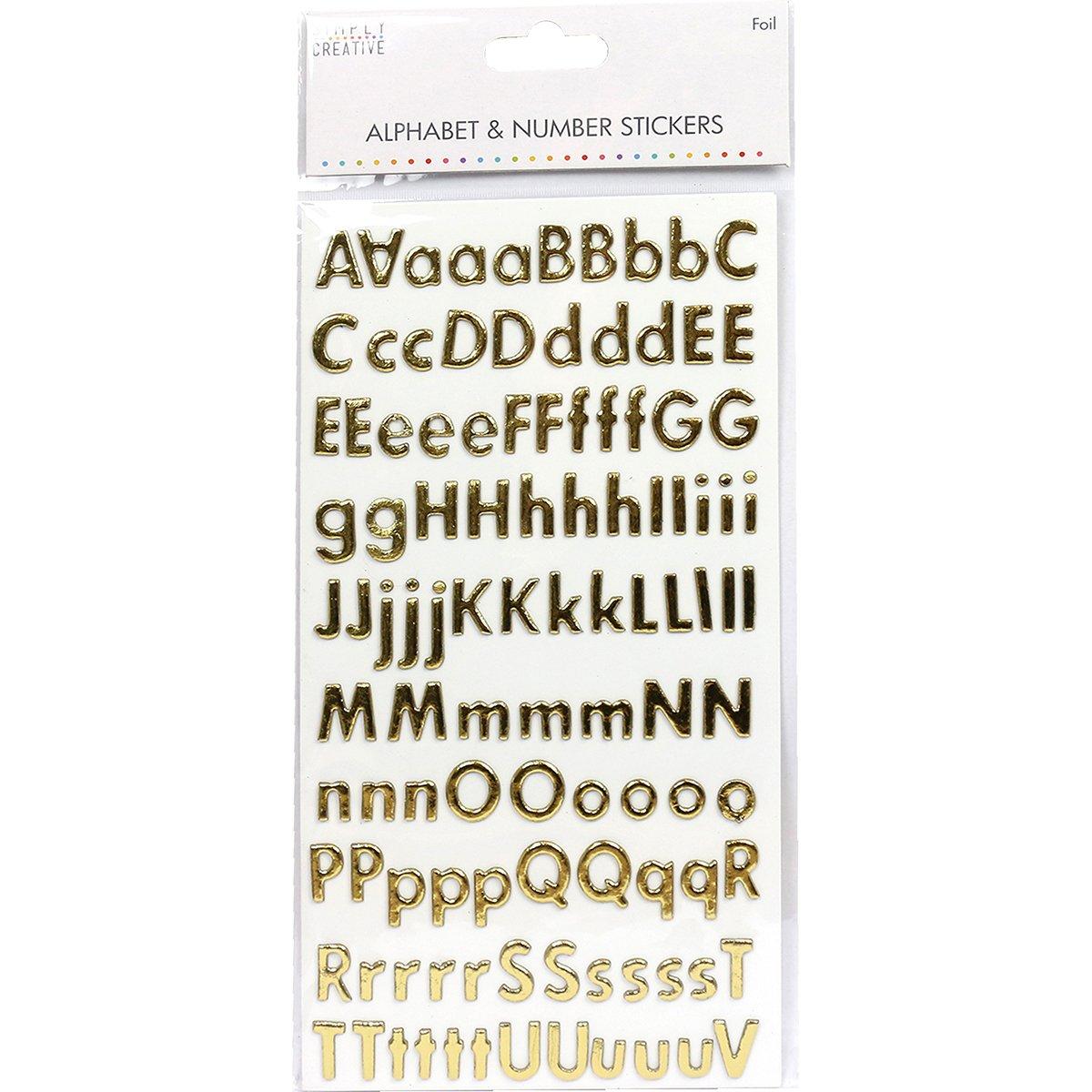 Pegatinas de Alfabeto y n/úmeros aglomerado Simply Creative