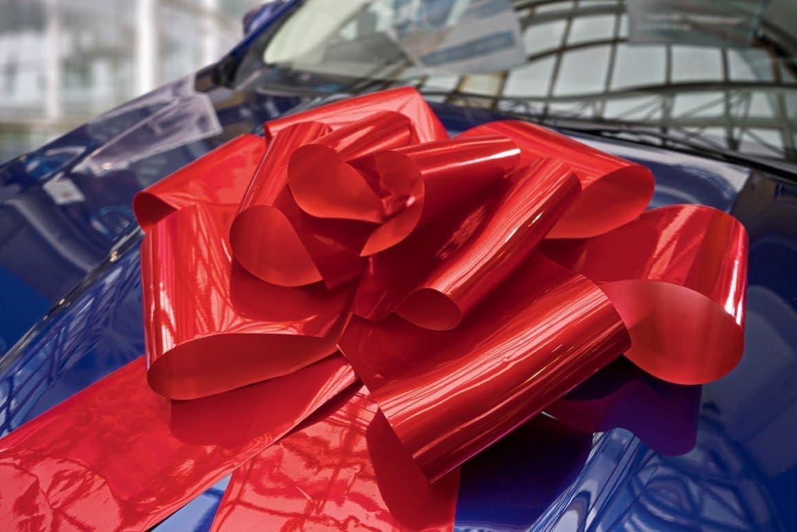 Kenley Lazo Gigante para Coche - Lazo Magnético Rojo de 42cm con Cintas de 99 cm - Adorno Sorpresa para Regalo de Bodas Cumpleaño Navidad - Se Acopla con Imanes y Ventosas