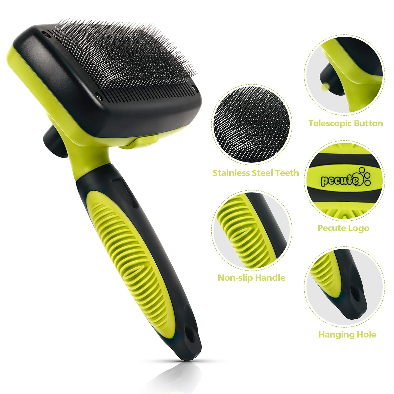 Pecute Grooming Slicker Brush Self Cleaning Dog & Cat Brush for Pet\'s Long & Short Hair Shedding - Press a Button to Remove Tangles and Loose Fur