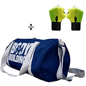 86369ab839e7 5 O  CLOCK SPORTS Combo Set of Polyester Blue Gym Duffle Bag and Green  Leather Gym Gloves with Wrist Support (49x24x24cm)  Amazon.in  Bags