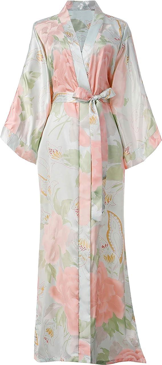 1940s Sleepwear: Nightgowns, Pajamas, Robes, Bed Jackets Coucoland Satin Kimono Robe Dressing Gown Peony Floral Kimono Cardigan for Women Silk Wedding Girls Bonding Party Pyjamas Long £27.99 AT vintagedancer.com