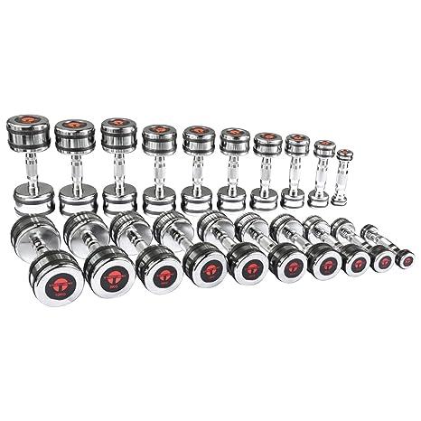 Cromo Pesas Conjunto de mancuernas mancuernas de calidad de estudio con anillo de goma 10 pares