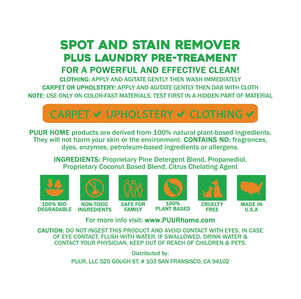 Amazon.com: PUUR Home Natural Spot and Stain Remover 32 oz Spray ...