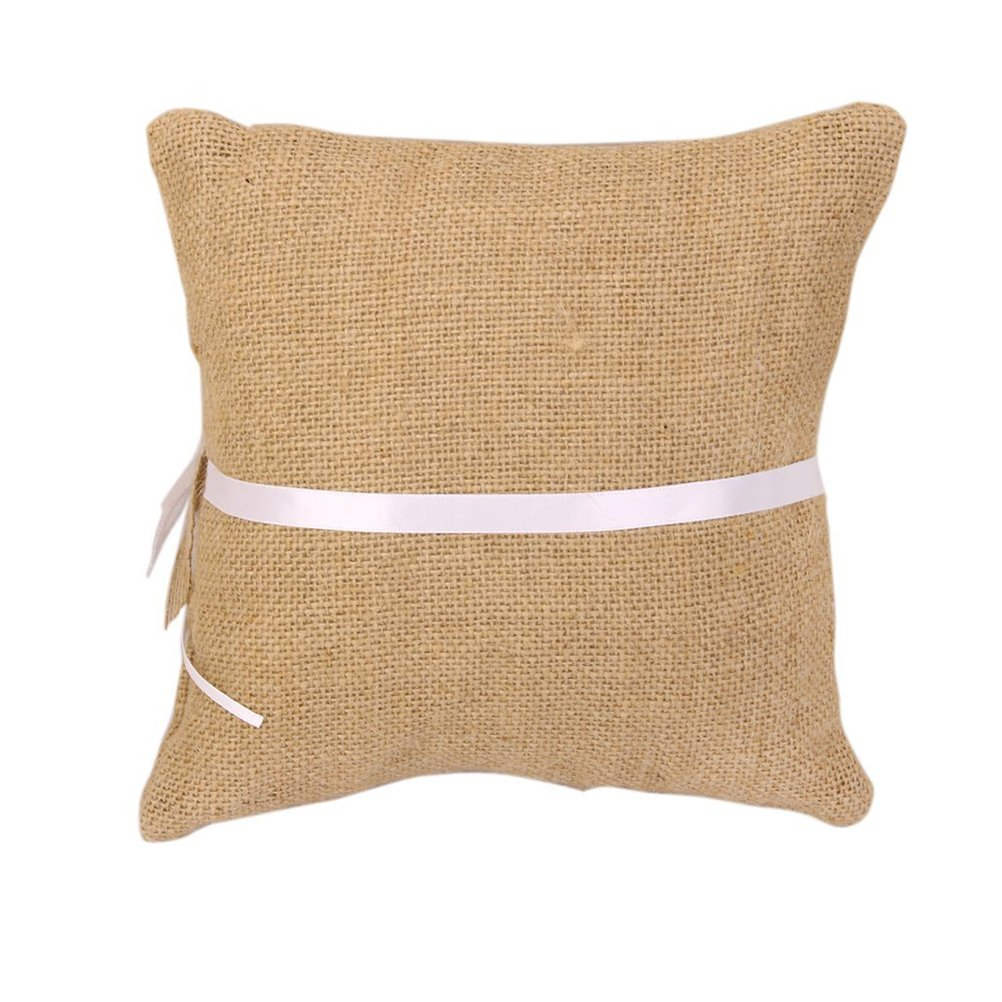 Amazon Ebtoys Wedding Ring Pillow Cushion Burlap Jute Bearer With Lace Trim Bowknot78 78inch Home Kitchen: Wedding Burlap And Lace Ring Pillow At Websimilar.org