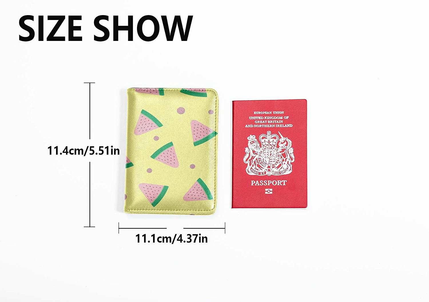 Passport Case For Women Fashion Cute Cartoon Fruit Watermelon Passport Covers For Men Multi Purpose Print Hard Case Passport Holder Travel Wallets For Unisex 5.51x4.37 Inch