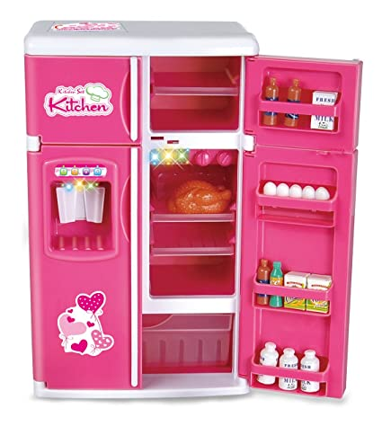 Liberty Imports Dream Kitchen Mini Refrigerator Pink Toy Fridge Playset For Dolls With Play Food Set