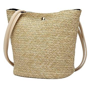8fd3f96b9fed Amazon.com: Snowfoller Casual Woven Straw Bags Fashion Bucket Bag ...