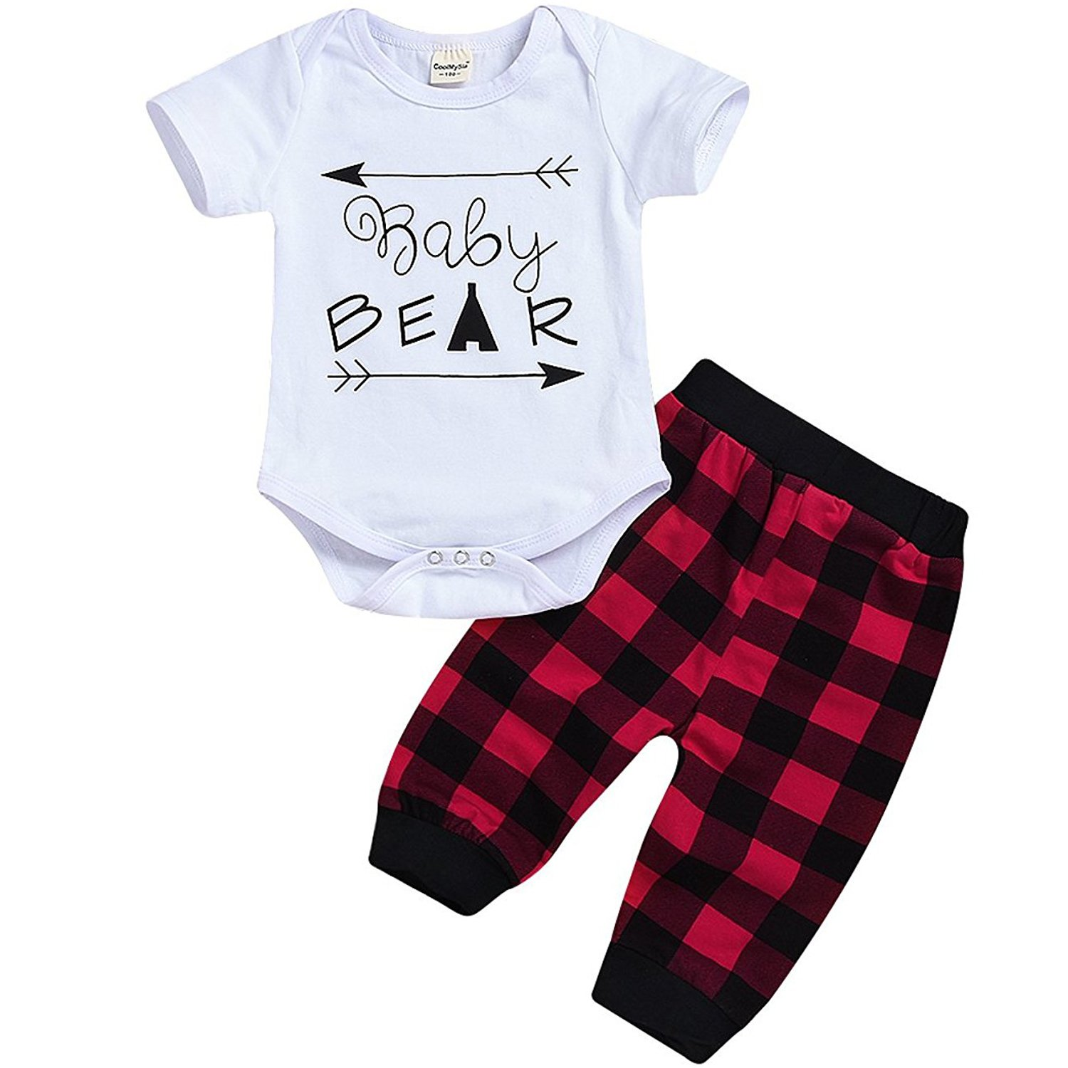 HappyMA Newborn Infant Baby Boy Girl Outfits Baby Bear Romper+Plaid Pants Summer Clothes (White Short, 0-3 Months)