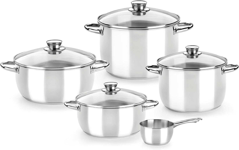 Monix Braisogona_M450066 Optima - Menaje 5 Piezas de Acero Inoxidable 18/10, Apta para Todo Tipo de cocinas incluídas de inducción