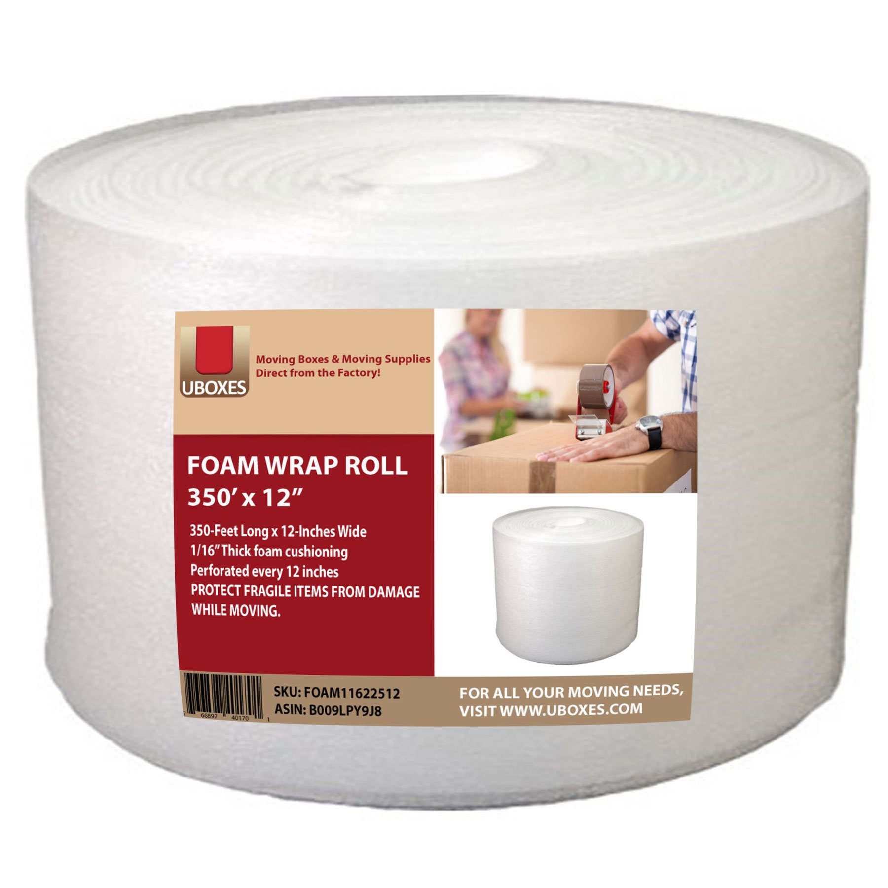 UBOXES Foam Wrap Roll 350' x 12'' wide 1/16 thick Cushion - 12'' Perforation