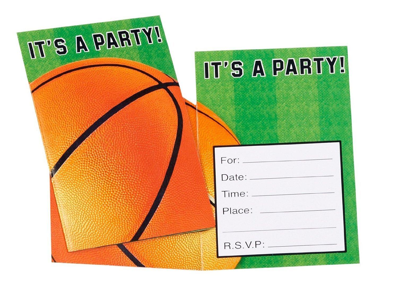 Baloncesto sueño invitaciones Fiesta de cumpleaños, papel, 4 ...