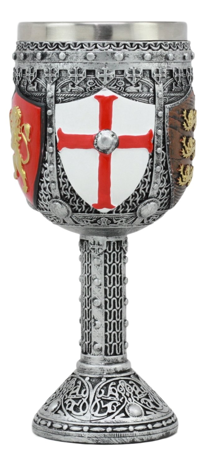 Ebros Medieval English Heraldry Coat Of Arms Wine Goblet 7''H 5oz Sturdy Wine Chalice