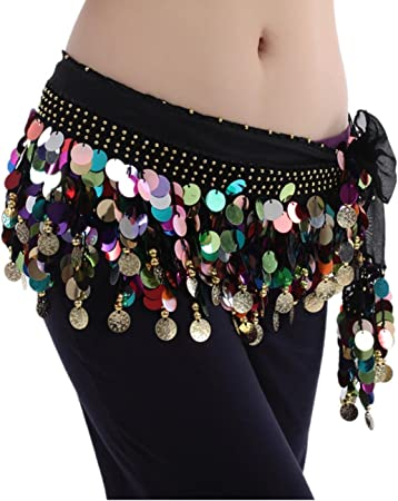 Zhanmai Belly Dance Skirt Hip Scarfs Wrap Belt with 128 Gold Coins Colorful Chiffon Dangling Waist Chain Belly Dance Sequins Hip Scarf