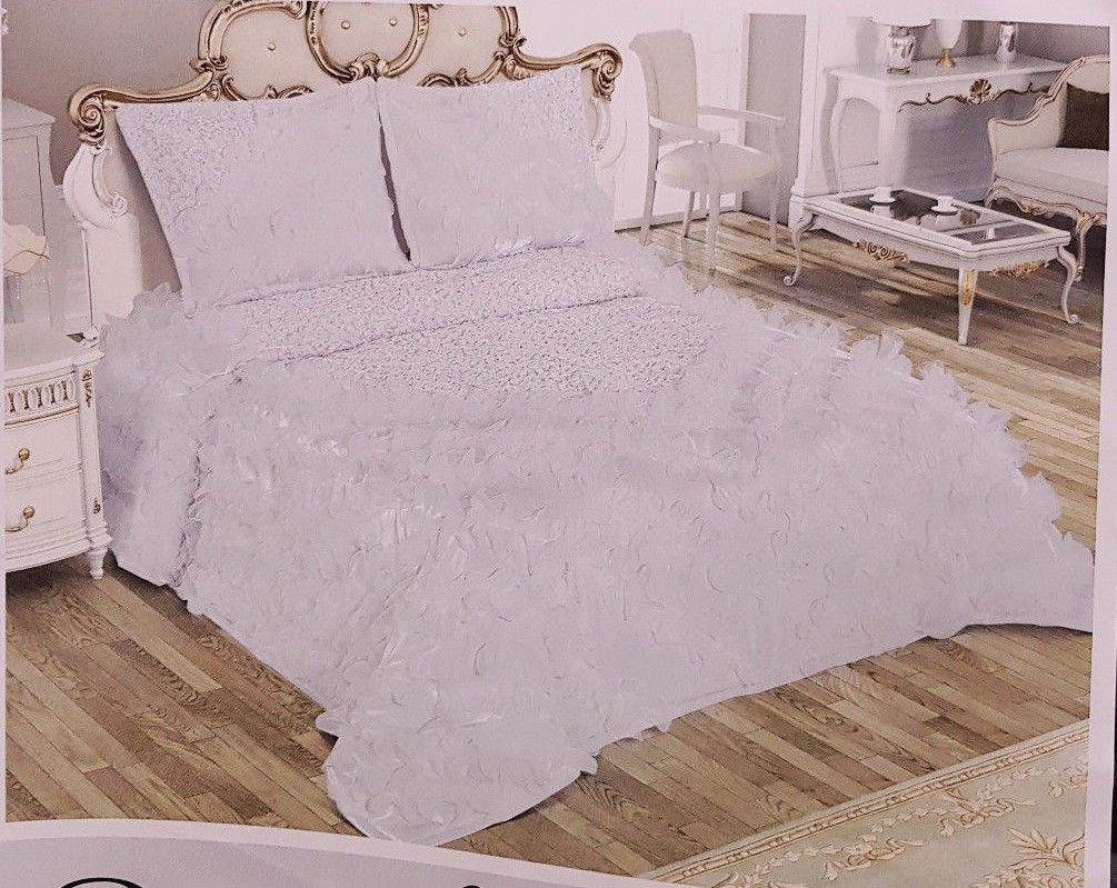 Tagesdecke Bettdecke Danteel Home Fiona Satin Bettüberwurf 250 x260cm Weiß