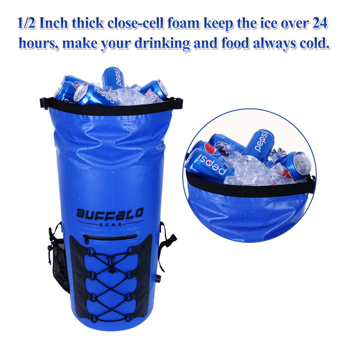 Buffalo Gear Portable Insulated Backpack Cooler Bag – Hands-free and Collapsible, Waterproof and Soft-Sided Cooler Backpack for Hiking, the Beach, Picnics,Camping,Fishing – Royal Blue,35 Liters,30 Can