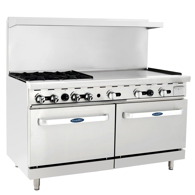 CookRite Commercial Liquid Propane Range 4 Burner Hotplates With 36'' Manual Griddle 2 Standard Ovens 60'' Restaurant Range- 221000 BTU