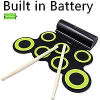 Rockpals Lot de 10 piles de batterie pour batterie électronique avec casque et pédales intégrés et baguettes de batterie intégrées Durée de jeu : cadeau de Noël pour enfants