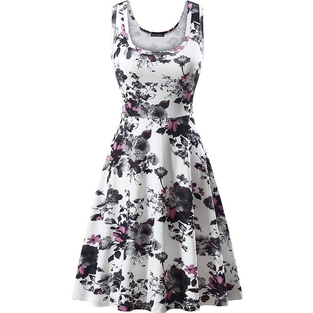 Women's Summer Floral Print O-Neck Sleeveless Mini Dress Casual Cute Club Evening Party Tank Dresses Beach Sundress White