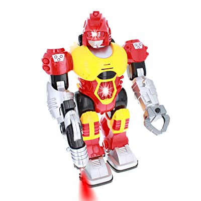 Env Toys Power Warrior LED Light Up Super Robot Action Figure - Red: Toys & Games