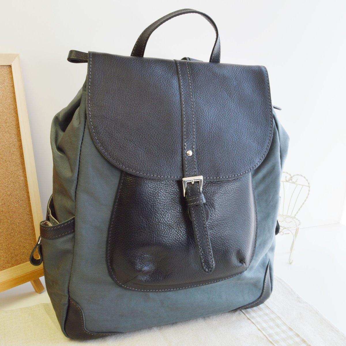 本革 リュック リュックサック グレーブラック 牛革使用 日本製 No2634 人気 通勤 通学バッグ レディースバッグ (鞄 かばん バッグ) B071JDRZSW