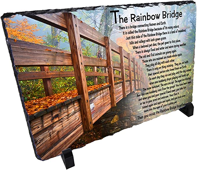 Mantle Piece Engraved Pet Memorial Plaque Rainbow Bridge Sign Pet Memorial Personalized Pet Memorial Desk Sitter Sign