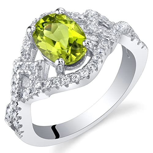 Gem Stone King 925 Sterling Silver Green Peridot 5-Stone Band Women s Ring 1.50 Ctw Round Available 5,6,7,8,9