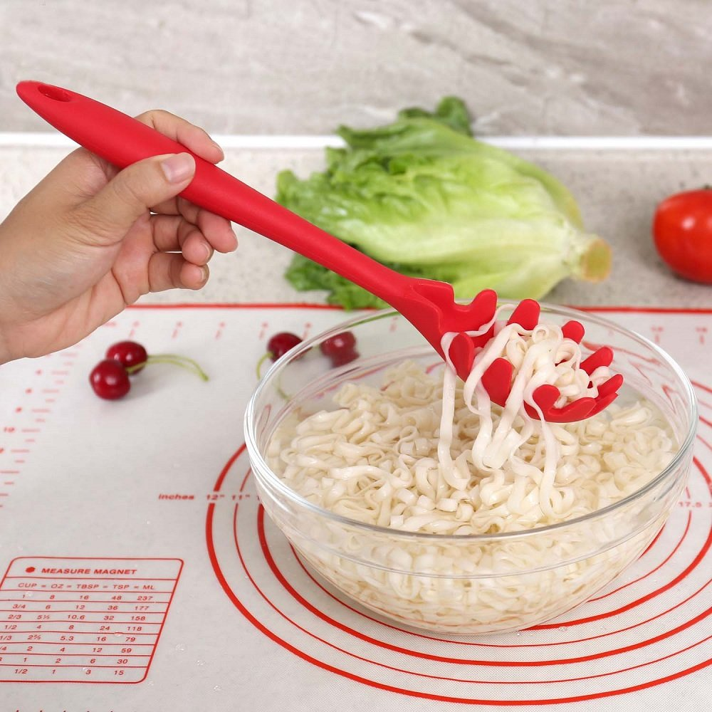 Liangxiang Silicone Pasta Spaghetti Server Fork NonStick Heat Resistant Kitchen Cooking Utensil