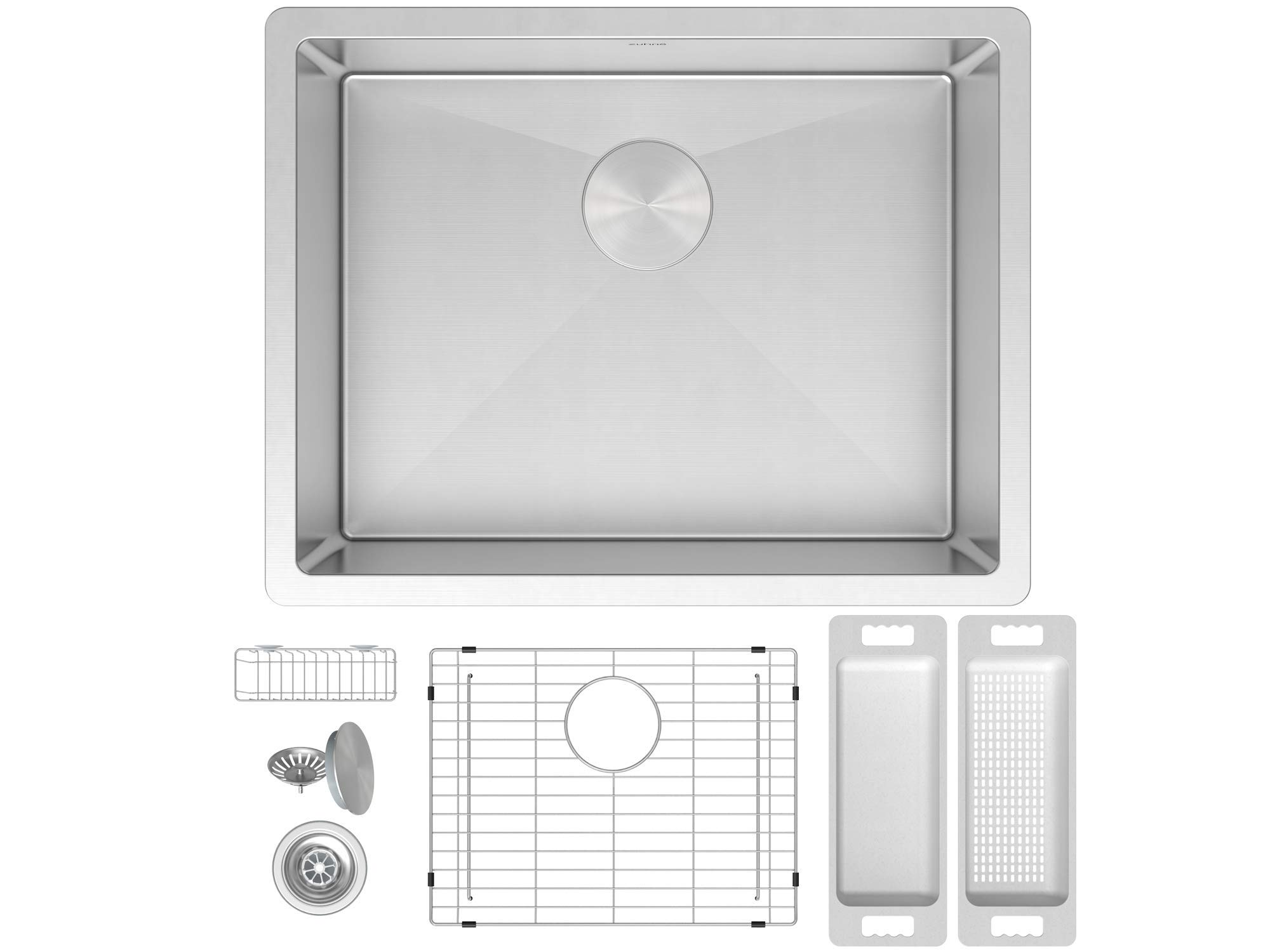 ZUHNE Modena 21 x 18 Inch Single Bowl Under Mount 16 Gauge Stainless Steel Kitchen Sink W. Grate Protector, Drain Strainer and Mounting Clips, Fits 24'' Cabinet