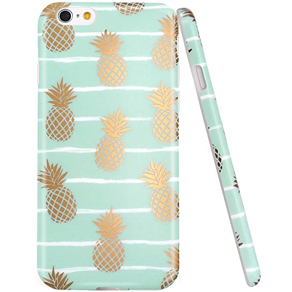release date d54c8 501df iPhone 6 Case, iPhone 6S Case, JAHOLAN Shiny Gold Pineapple Mint Design  Clear Bumper TPU Soft Rubber Silicone Cover Phone Case for iPhone 6 iPhone  6S