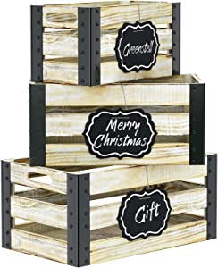 Greenstell Rustic White Wooden Crate with Cutout Handle and Hanging Chalkboard, Decorative Farmhouse Display Wood Storage Crate Box, Nesting Accent Crate for Storing Fruit, Milk, Beer, Toys Set of 3