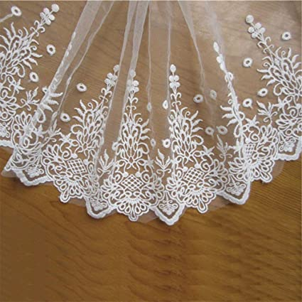 "2/"" Wide Embroidered Mesh Tulle Floral Lace Edging Trimming in 6 Colours"