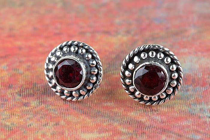 27ee0e4a5 Stelring Silver Garnet Stud Earring, Red Stone studs , Gemstone Post  Earrings, Post Studs, Birthstone Earring, Gift idea for her, Pure 925  Sterling Silver ...