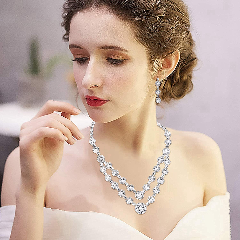 Women Fashion Fleur Collier Boucles d/'oreilles pendantes bijoux Set Cristal Soirée Bijoux SP