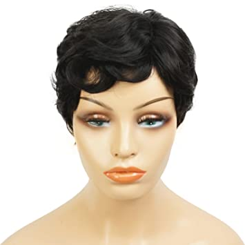 Amazon.com   Wiginway Women Short Pixie Cut Curly Wig Natural Black Fashion  Pixie Haircuts Full Synthetic Wig for Lady   Beauty 4eee4adad