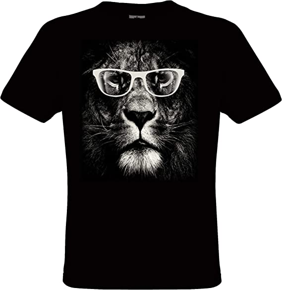 DarkArt Designs Lifestyle T Shirt Lion Glasses Lion T shirt pour messieurs motif de chats regular fit