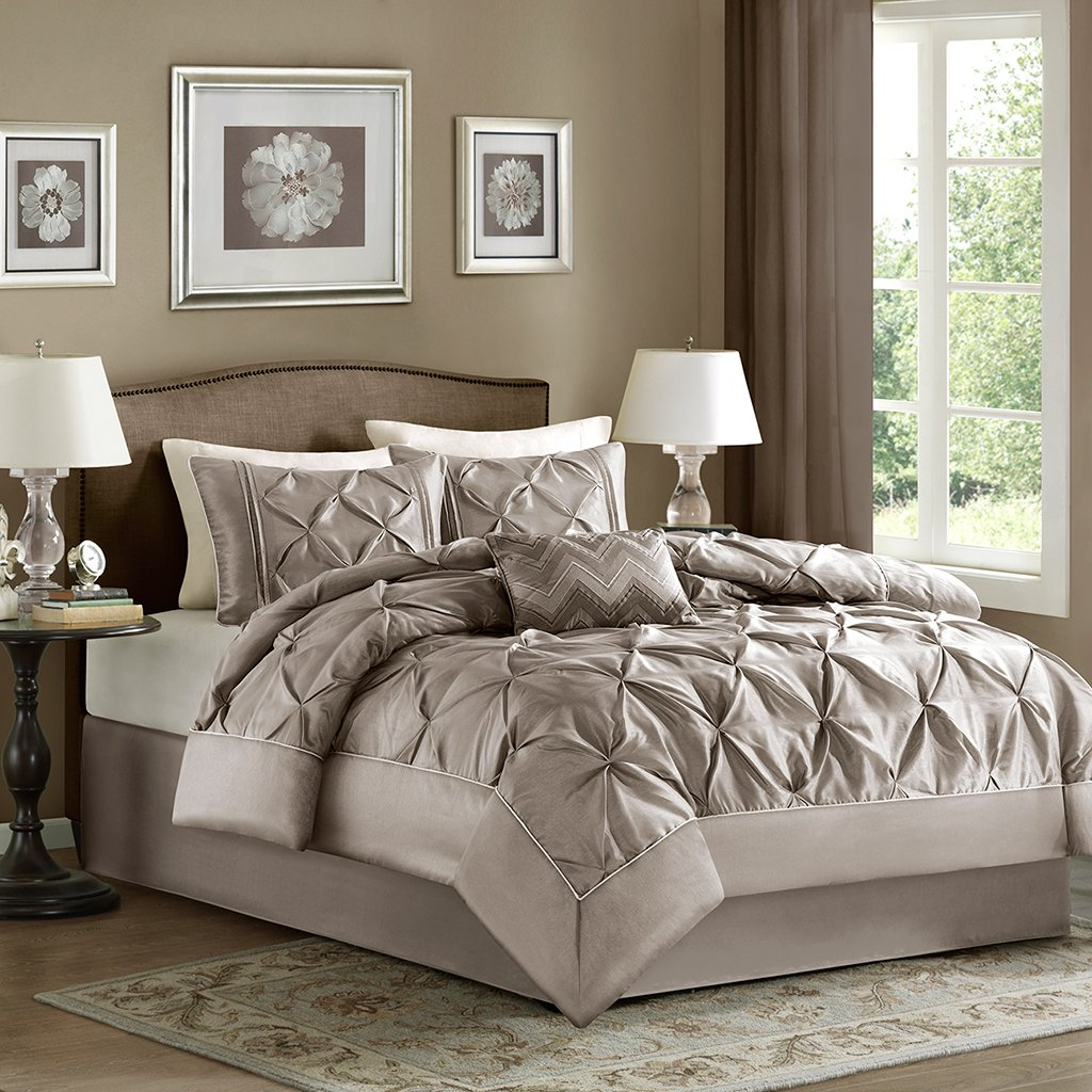Ideal Home Essence Madeline Piece Comforter Set King Taupe