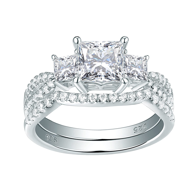 Newshe Three Stone Princess White AAA Cz 925 Sterling Silver Engagement Wedding Ring Set Size 5-10 Newshe Jewellery JR4824_SS