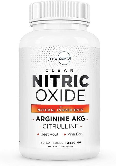 Ultra Clean Nitric Oxide Supplement w. 6X Natural NO Booster Blend (L Arginine Citrulline 1000mg Plus Pine/Garlic/VIT.C/Beet Root) Capsules - Blood Flow Workout Supplement Nitric Oxide Pills for Men