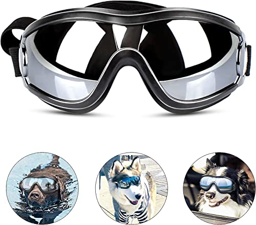 PEDOMUS Dog Sunglasses Dog Goggles Adjustable Strap for Travel Skiing
