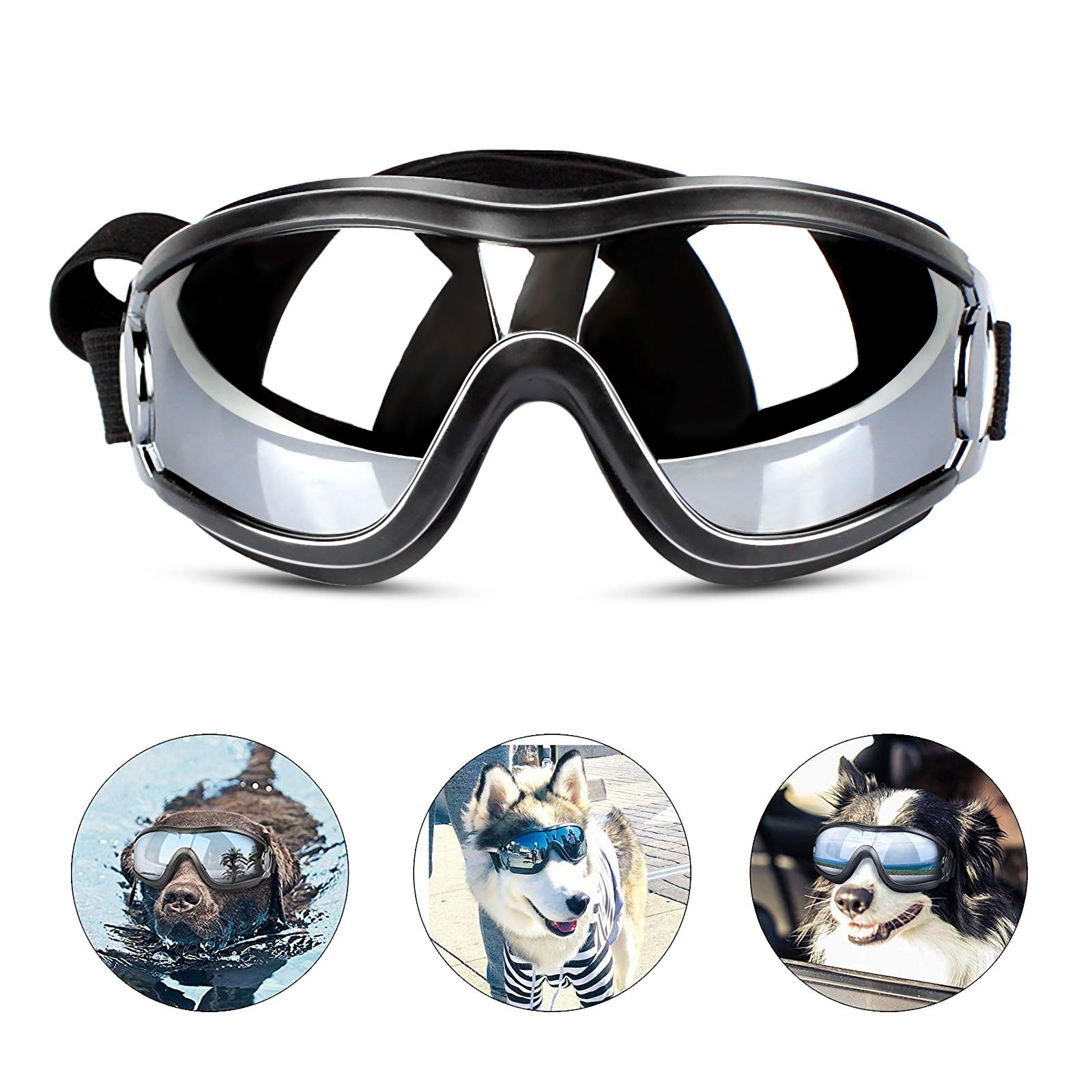 PEDOMUS Dog Sunglasses Dog Goggles Adjustable Strap for Travel Skiing and Anti-Fog Dog Snow Goggles Pet Goggles for Medium to Large Dog by PEDOMUS