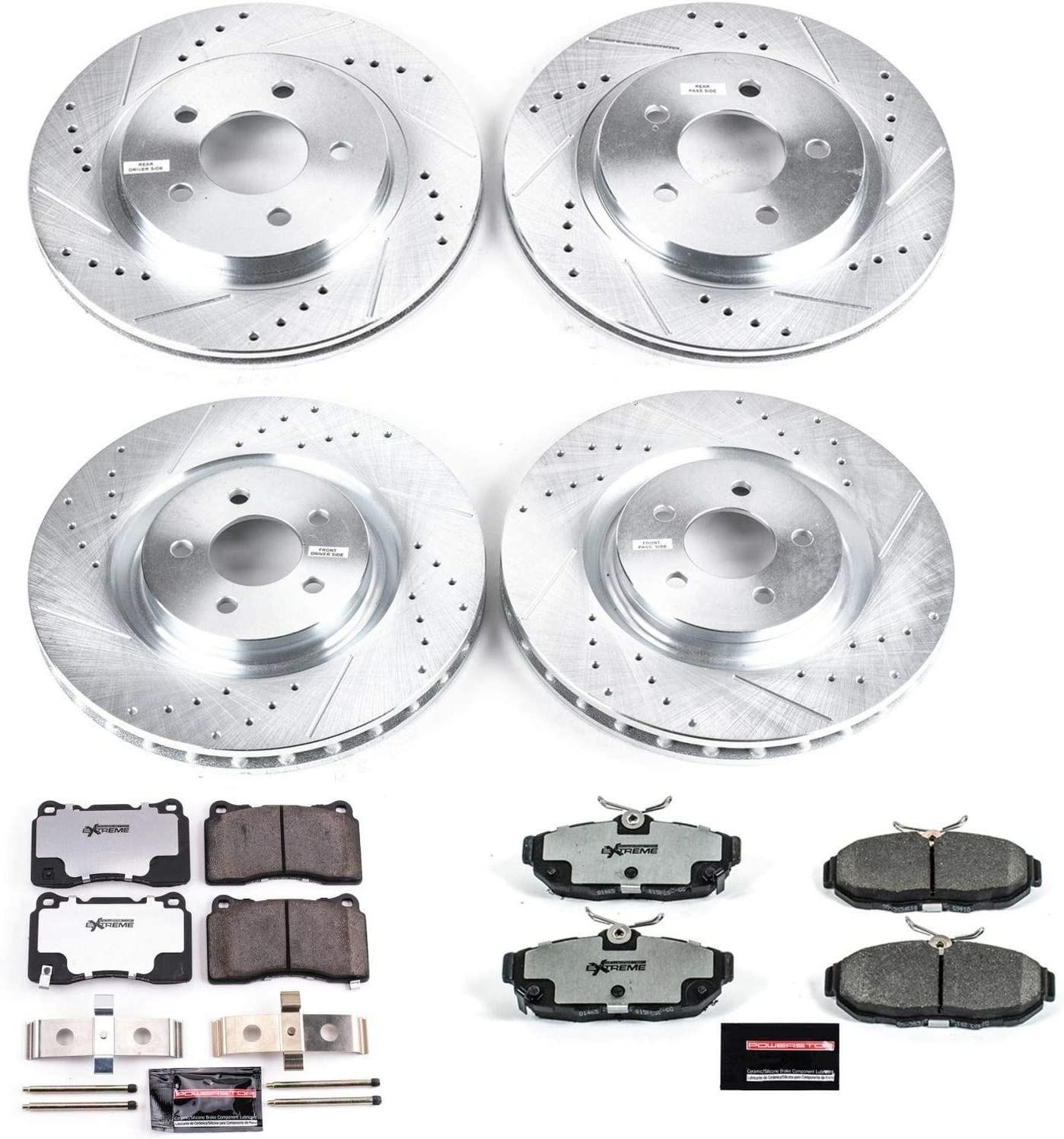 Power Stop K4148-26 Front /& Rear Z26 Street Warrior Brake Kit Ford