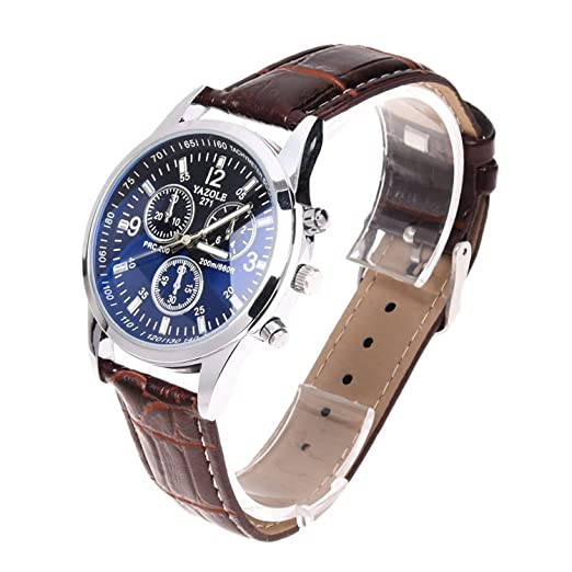 YAZOLE New Fashion Mens Date Leather Stainless Steel Military Sport Quartz Wrist Watch