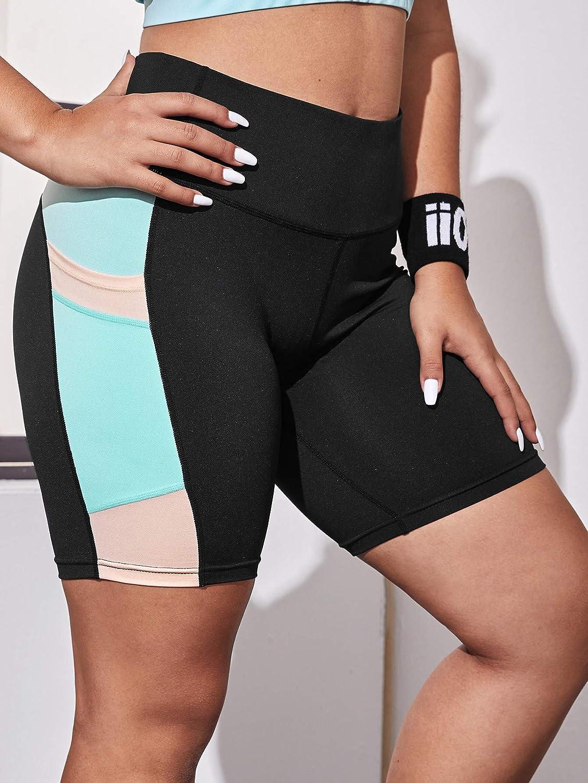 Milumia Womens Plus Size Athletic Biker Shorts Tie Dye Workout Colorblock High Elasticity Yoga Shorts