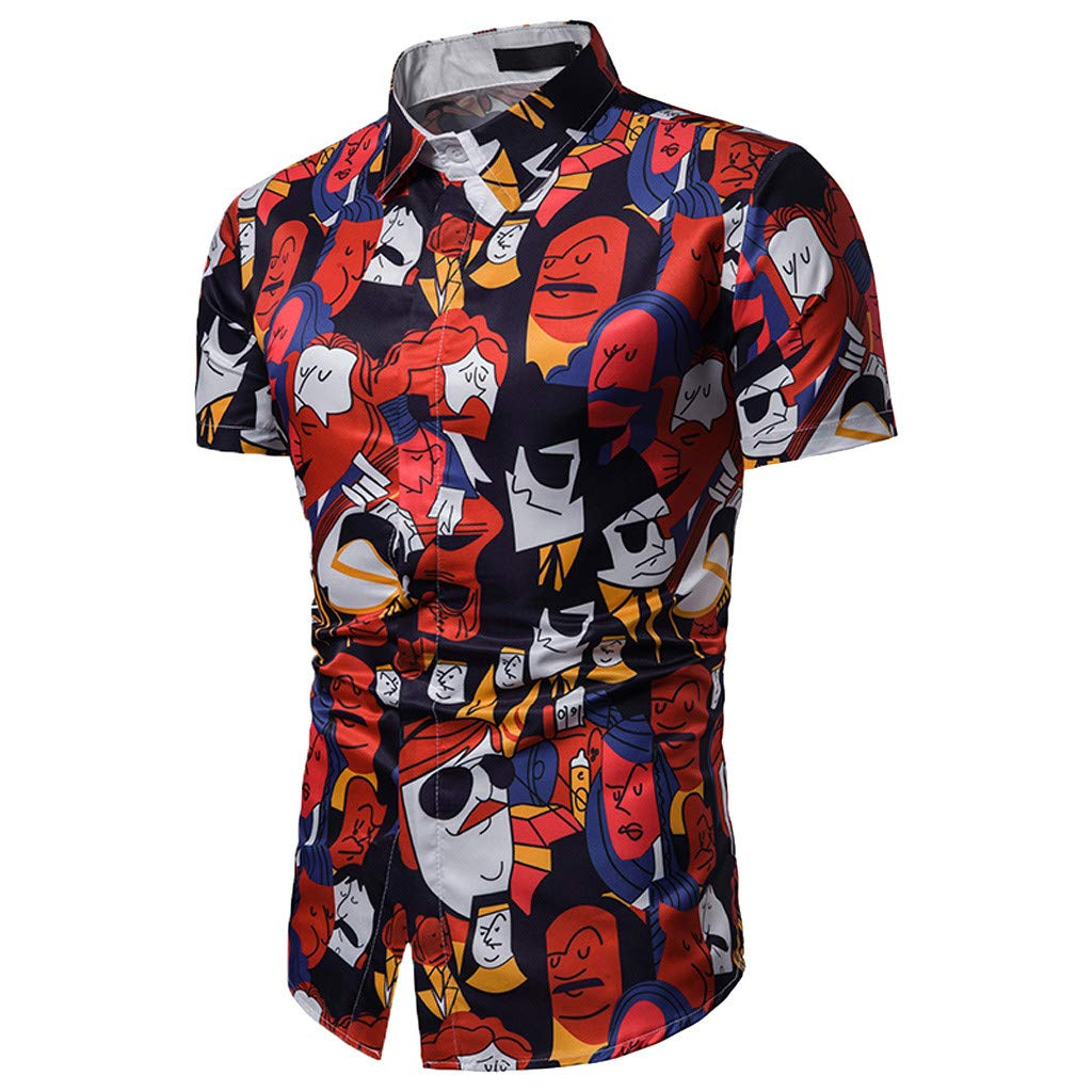 Men/'s Hawaiian Funny Printed Slim-Fit Shirts Casual Button Down Short Sleeve Shirt Holiday Beach Aloha Blouse by Leegor