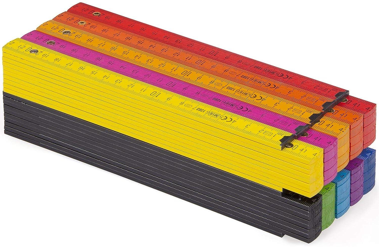 Metrie PERFEKT con divisi/ón d/úplex 1 unidad de 2 m de largo Metro plegable de madera color blanco