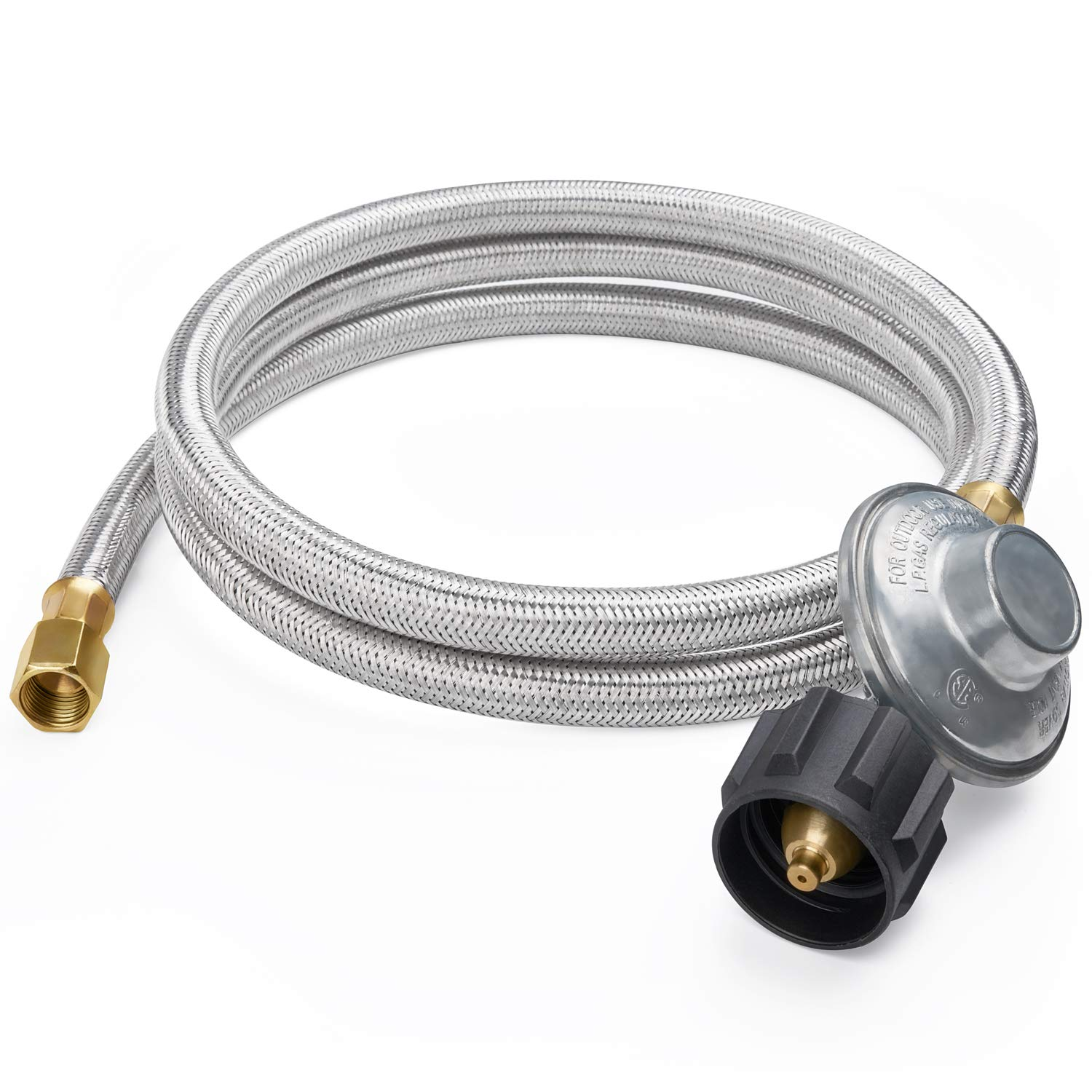 SHINESTAR 6FT Stainless Braided Propane Regulator with Hose, Low Pressure LP Hose and Regulator for QCC1/Type 1 Tank and Gas Grill, Smoker, Propane Fire Pit, Heater, 3/8 Female Flare Nut, CSA
