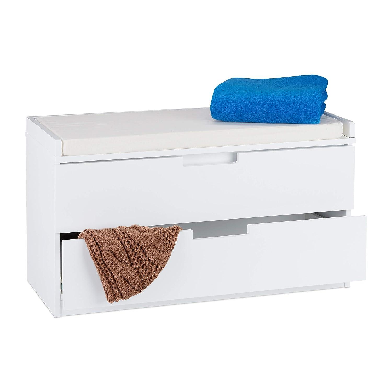 Peachy Relaxdays Storage Bench For Sitting Cabinet With 2 Drawers Inzonedesignstudio Interior Chair Design Inzonedesignstudiocom